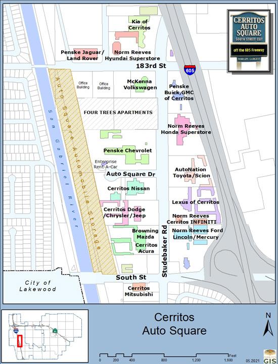 Cerritos Auto Square Map on